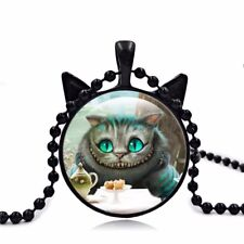 New Cheshire Cat Alice In Wonderland Cabochon Antique Necklace Pendent Gift Bag