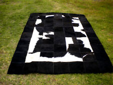 BIG Patchwork Cowhide rug Cow Hide Skin HAIR Carpet Leather BLACK WHITE PA7 PA11