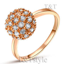 Cubic Zirconia Rose Gold Plated Band Stone Fashion Rings
