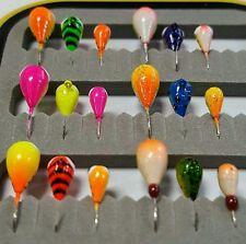 18 Piece UV GLOW Kenders Tungsten Jig Kit - Ice Fishing - Crappies - Bluegills
