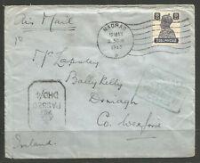 OSBURGH - INDIA / IRELAND. WW2. 1943. NAVAL CENSORED COVER C/O MADRAS NAVY OFFIC