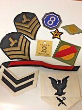 9  Vintage Military Uniform Decorations & a Mess Hall Pass.