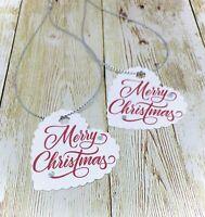 10 Red Merry Christmas Xmas Gift Tags Gem + Silver Strings Santa Wrap Handmade