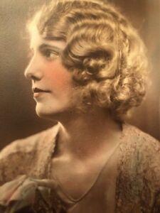 Antique ART DECO Large Flapper Gatsby Woman Hand Colored  Photograph c1920s
