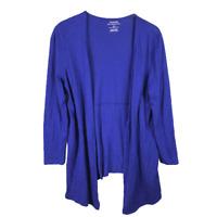 Chicos Womens Sweater Size 1 M Blue Cotton Blend Slub Open Long Sleeve Cardigan
