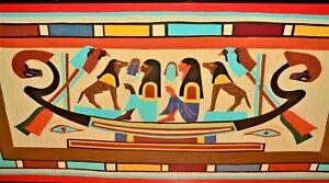 Original Vintage Antique Ancient Egyptian Goddess Horus Anubis Ra Quilt Tapestry