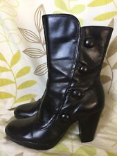 CLARKS LADIES BLACK BURLESQUE STEAM PUNK VICTORIAN BOOTS SIZE 6.5 UK 39.5 EUR
