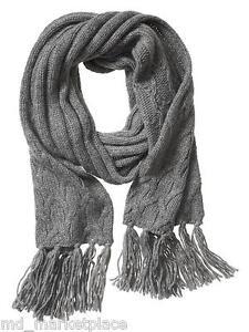 NEW BANANA REPUBLIC Mens Womens Grey Chunky Knit Fringe Winter Scarf $79 NWT