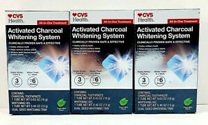 3× Teeth Whitening System Activated Charcoal All-In-One Treatment Kit CVS Health