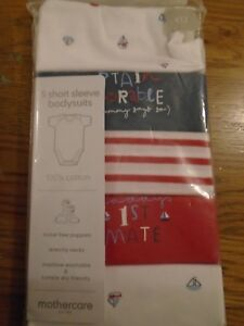 BNWT baby Mothercare short sleeve bodysuits/vests.Small/early/prem. 5lb.   (2/1)