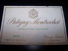 etiquette vin Puligny Montrachet 1970 Etienne Sauzet wine label bourgogne