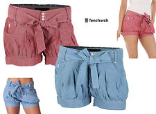 Fenchurch Chambray Denim Paperbag Shorts Womens Young Ladies Size UK 6 - 8 / XS
