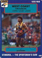 ✺Signed✺ 1990 WEST COAST EAGLES AFL Card CHRIS LEWIS