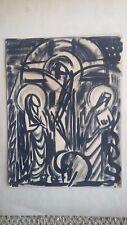 dessin original cubiste encre crucifix proche Georges Rouault drawing
