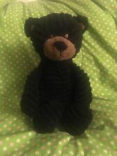 "Unipak TEDDY BEAR Black Corduroy 11"" Floppy Plush Ribbed Stuffed Animal Lovey"