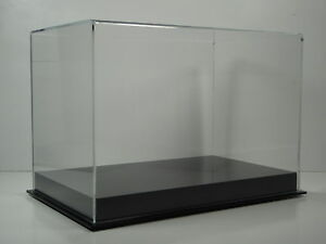 Double shoe display case with solid black base 85% UV filtering acrylic