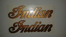 Set of 2 Indian motorcycle tank decals copper and black Marine Vinyl   10 x 3