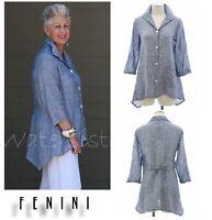 FENINI USA Linen Updated Classic Feminine Tie Back SHIRT Top XS-XL BLUE CHAMBRAY