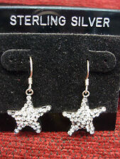 STERLING SILVER STARFISH EARRINGS LAYERED IN CRYSTALS - SWEET - NEW ON CARD