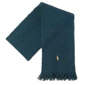 POLO RALPH LAUREN Mens Pony Merino Wool Knit Fringe Scarf Green (MSRP $65)