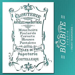 Shabby Chic STENCIL: Articles de Paris Clouterie (DIY Furniture Print) #022