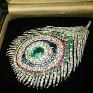 Peacock feather brooch Art Deco peacock brooch set with lab-diamond & emeralds