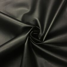 Fryetts Black Faux Leather Fabric 145cm Wide - Fire Retardant - Luxury Soft Feel