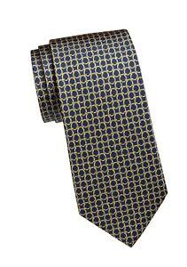 NEW Authentic SALVATORE FERRAGAMO Mens Interlocking Gancini Green Silk Tie