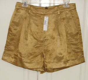 NWT J Crew size 8 honey brown drapey hi-rise shorts in satin-faced linen #AM950