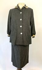 Vintage 1940's Stork-a-Lure Gray Wool Maternity Button Top Tummy Skirt Set
