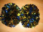 Football Basketball Team Dance Girl Christmas Cheerleader 2PomPoms Blue mix Gold