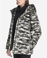 DKNY Womens Sport Camo-Print Velvet Hooded Jacket Camo Size Small