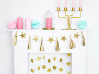 Paper garland - Gold tassels Stars Bunting Banner New Year Christmas Decorations