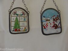 1980'S CHRISTMAS ORNAMENTS-(2)-PAINTED GLASS MINIATURES-METAL CHAIN HANGERS-