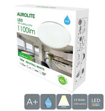 AUROLITE LED Super Slim Bathroom Ceiling Light, IP44, 14W, Natural White, Ø:26cm