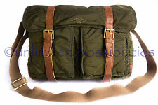 FOSSIL New Estate EW Messenger Crossbody Bag Leather Nylon Olive Tags