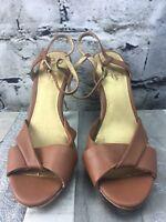 Seychelles Size 9.5 Cork Pumps Heels Gold Tan Shoes