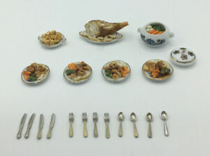 Dolls House Plates Of 'Roast Dinner' And Cutlery