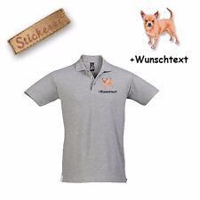 Camiseta De Algodón Polo Bordado Perro Chihuahua 3 + Texto personalizado