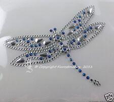 Hotfix Bügelbild schöne Strass Libelle Crystal m. AB-Blau + Silber Formen 110904