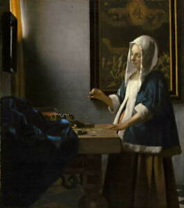 Johannes Vermeer Woman Holding a Balance Giclee Paper Print Poster Reproduction