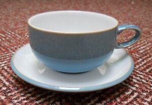 1 x Breakfast or Tea Cup & Saucer - Blue - Azure - Denby - Diameter 10.5cm -