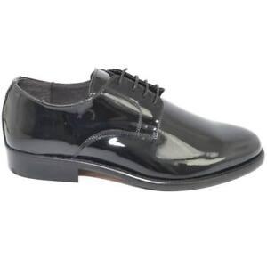 Scarpe eleganti liscie nero in vernice vera pelle made in italy materiale lucido