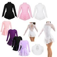 Kids Girls Ballet Dance Leotard Dress Ice Skating Dancewear Costume Tutu Skirt