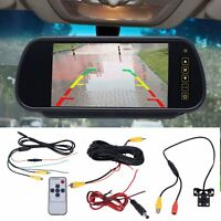"CAR REAR VIEW 7"" LCD MIRROR MONITOR + IR NIGHT VISION REVERSING CAMERA 4LED Set"