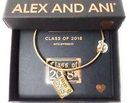 Alex and Ani Class of 2018 Bangle Bracelet Rafaelian Gold New Tag Box Card