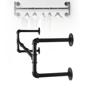 Industrial Pipe Clothing Rack Wall mounted Clothes Rail Hanging Display Rack