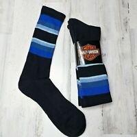 2 Pair Harley Davidson Merino Wool Crew Socks Men/'s Large Blue Black Striped