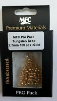 "MFC Pro Pack  Fly Tying  "" TUNGSTEN ""  Bead 2.7 mm 100 pcs- Gold"