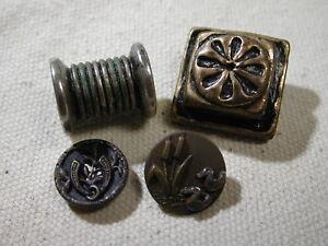 Antique 19th Century button lot of 4 Ducks Horseshoe Barrel